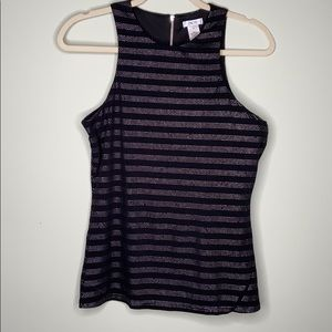 Caché black with silver dot striped top